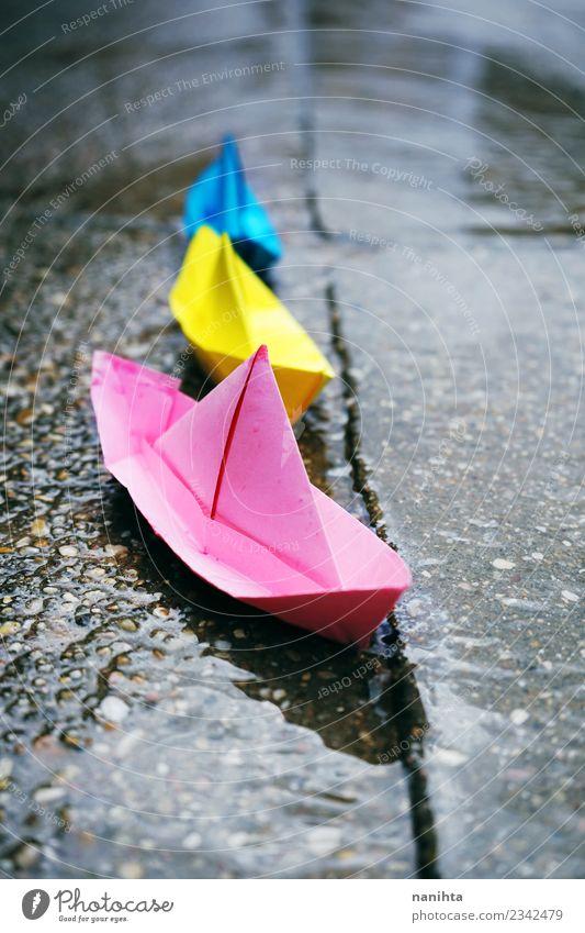 blau schön Wasser Straße gelb rosa Freizeit & Hobby Regen Verkehr retro Wetter Wachstum Kreativität nass Papier Klima