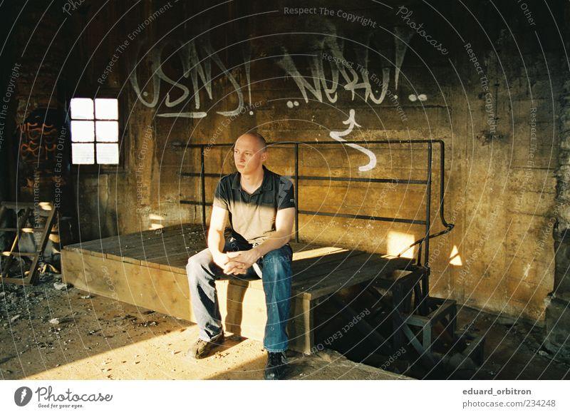 Erode Mensch maskulin Mann Erwachsene 1 Fabrik Ruine Mauer Wand Fenster T-Shirt Hose Schuhe Glatze Blick sitzen Graffiti dreckig Holz Holzplatte Betonwand