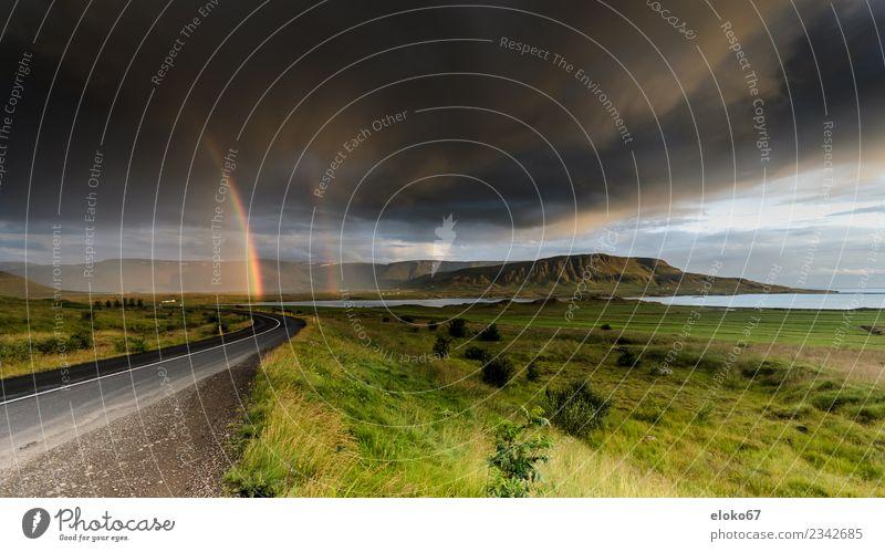 Regenbogen in Island Natur Landschaft Freude Umwelt Glück Stimmung Angst Wetter Fröhlichkeit Lebensfreude Schönes Wetter Klima Unwetter schlechtes Wetter