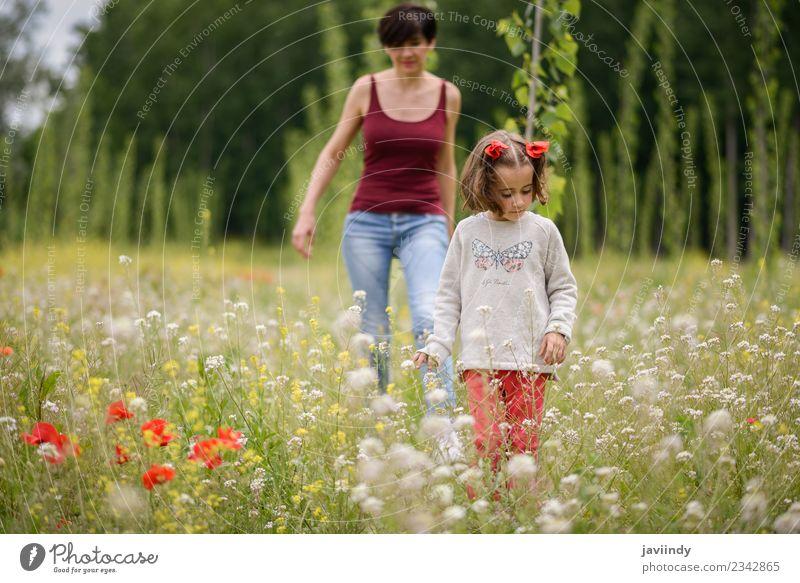 Frau Kind Mensch Natur Jugendliche weiß Blume Mädchen Erwachsene Lifestyle Wiese feminin Familie & Verwandtschaft Gras klein Zusammensein