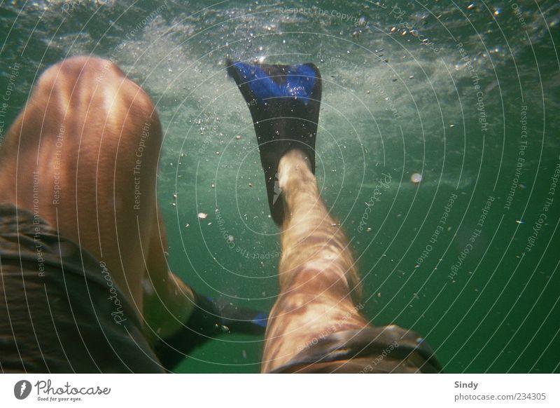 Flosse Mensch Mann Wasser Ferien & Urlaub & Reisen Meer Sommer Erwachsene Erholung Beine tauchen Luftblase Bildausschnitt Schwimmhilfe Anschnitt Gischt