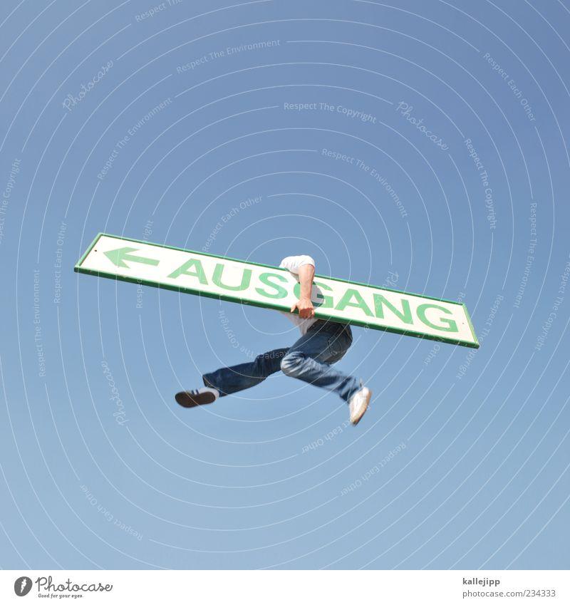 ausflug Pfeil springen blau Ausgang Schilder & Markierungen Orientierung Richtung Ende Ziel Freiheit Problemlösung Himmel Verkehrsschild tragen festhalten