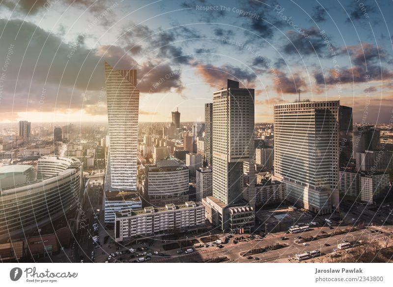 Warschauer Skyline mit panoramischem Stadtbild in Mittelpolen. Ferien & Urlaub & Reisen Tourismus Ausflug Abenteuer Sonne Büro Business Kultur Himmel Horizont