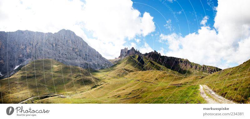 Rosszähne – Denti di Terrarossa – Seiser Alm Natur Pflanze Sommer Wolken Ferne Wiese Landschaft Berge u. Gebirge Freiheit Wege & Pfade Felsen wild ästhetisch Alpen Gipfel Fußweg