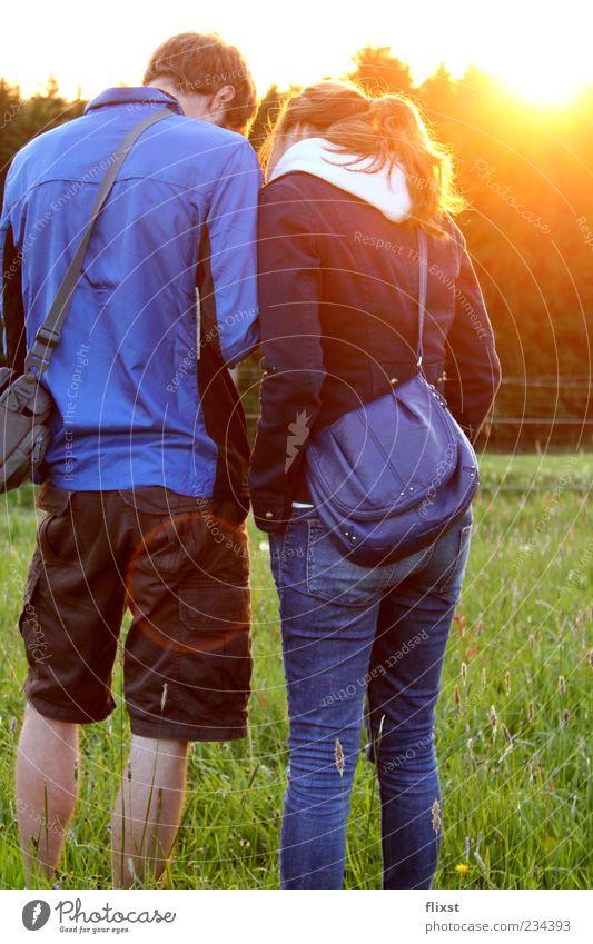 Frühlingsgeflüster 2 Mensch Wiese sprechen Zusammensein maskulin Familie & Verwandtschaft Neugier Schönes Wetter Vertrauen Liebespaar Begeisterung Euphorie
