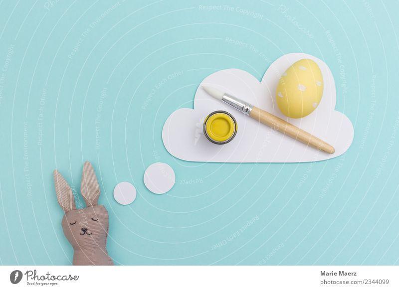 Osterhase träumt vom Ostereier bemalen Ei Freude Ostern Maler Arbeit & Erwerbstätigkeit träumen lustig positiv blau gelb fleißig Müdigkeit Erschöpfung Trägheit