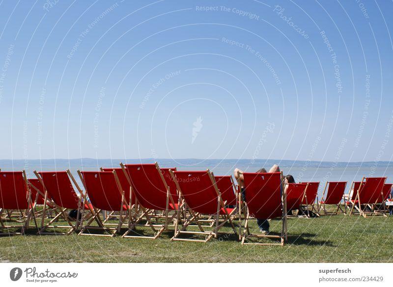 Platz an der Sonne blau rot Sommer Strand ruhig Ferne Erholung Wiese See sitzen viele heiß Schönes Wetter Seeufer Gelassenheit