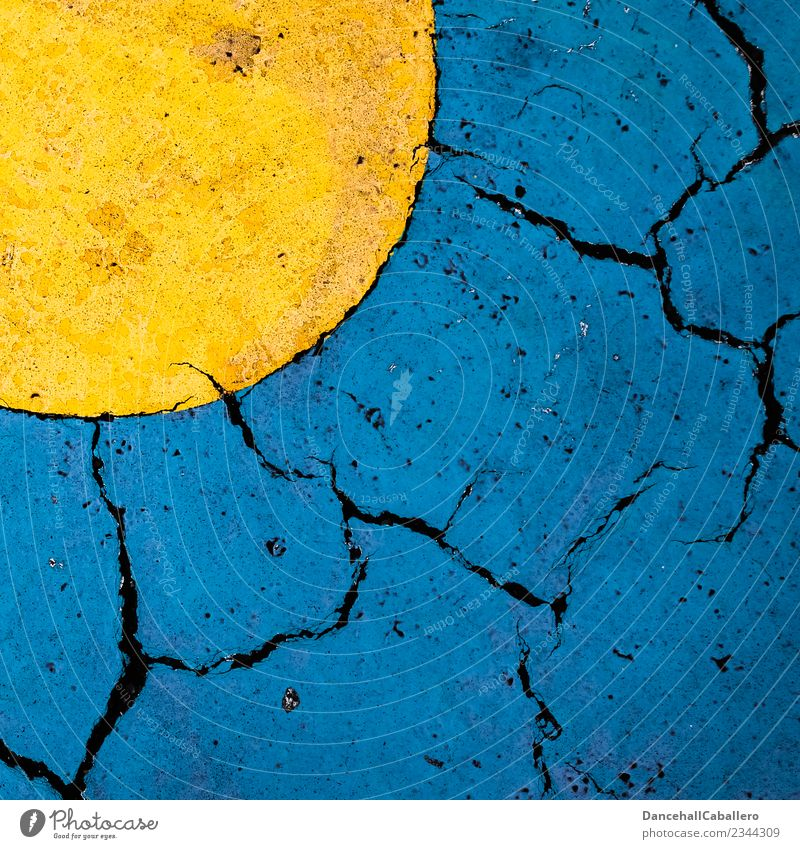 gelbe und blaue Fläche auf aufgebrochenem Ausphalt Kunst Himmel Sonne Grafik u. Illustration Sommer Klima Klimawandel graphisch Design Grafische Darstellung