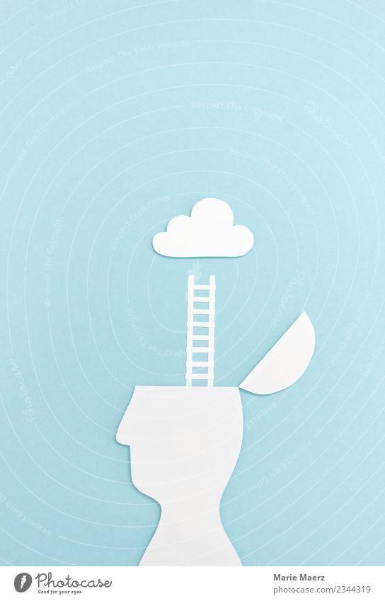 Träumen | Offener Kopf mit Leiter zur Wolke Bildung Wissenschaften Feierabend maskulin Denken entdecken träumen außergewöhnlich frei Unendlichkeit blau achtsam