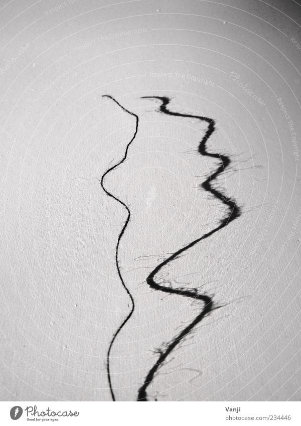 Den Faden verloren weiß schwarz grau Linie weich kaputt Ende dünn lang Schnur Kurve Nähgarn gerissen Schattenspiel schlangenförmig wellig