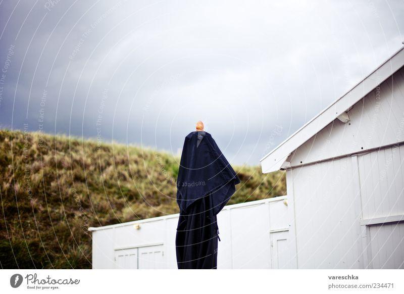 Vor dem Sturm Haus Gras Angst Bekleidung Dach bedrohlich Zeichen Unwetter Hütte hängen Wolkenhimmel Holzhütte