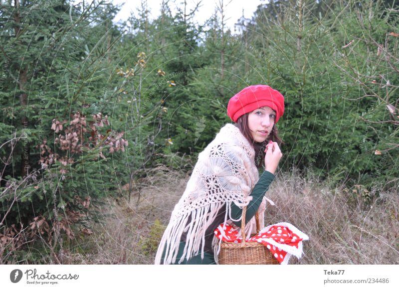 Es war einmal ... Mensch Natur Jugendliche weiß grün rot Erwachsene Wald Umwelt Landschaft Herbst feminin Angst außergewöhnlich ästhetisch 18-30 Jahre