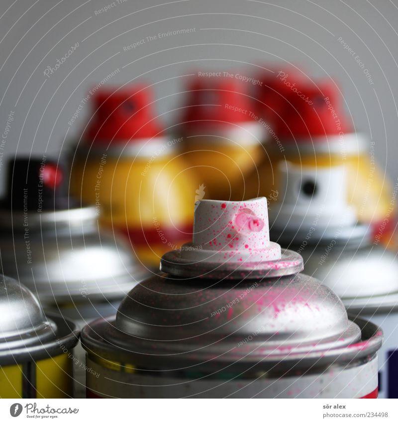 Dosenfarben Künstler Farbdose Sprühdose modern rosa rot silber Farbe Farben und Lacke Spray Kreativität Tagger Freizeit & Hobby abstrakt Vandalismus