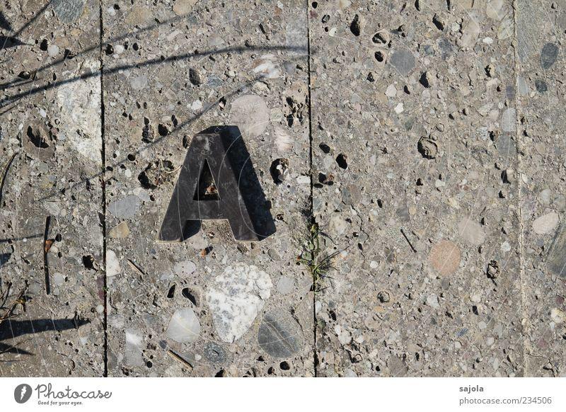 von a ... Gras Stein Beton Metall Schriftzeichen A ästhetisch grau Linie Boden Bodenplatten Beginn Anfangsbuchstabe Farbfoto Außenaufnahme Muster