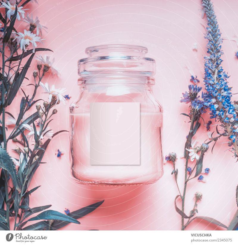 Naturkosmetik Glas mit pastellrosa Creme schön Blume Gesundheit Hintergrundbild Stil Design kaufen Kräuter & Gewürze Kosmetik Spa