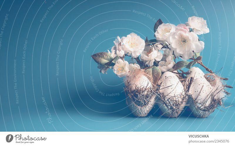 Blauer Ostern Hintergrund mit Eiern und weißen Blüten Stil Design Dekoration & Verzierung Frühling Blatt Tradition Hintergrundbild Symbole & Metaphern