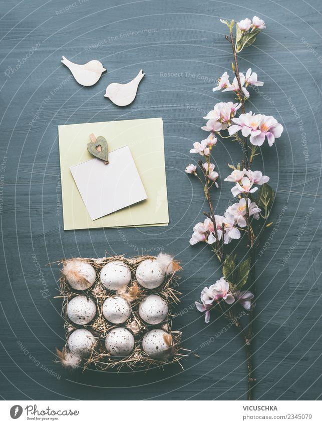 Ostern Composing mit Grußkarte mock up Stil Design Dekoration & Verzierung Feste & Feiern Frühling Blatt Blüte Blumenstrauß Zeichen Liebe rosa Tradition Entwurf