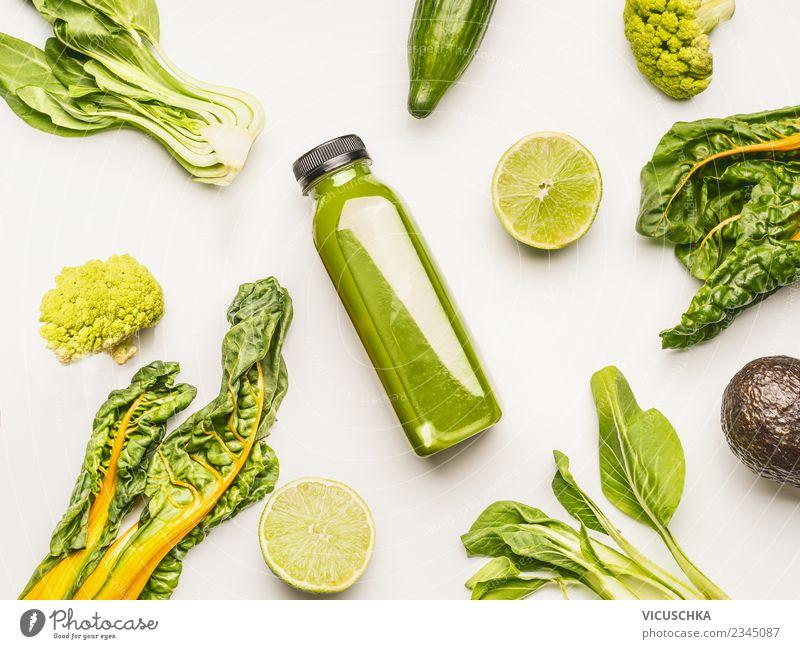 GrüneSmoothie Flasche miz Zutaten Lebensmittel Gemüse Frucht Ernährung Bioprodukte Vegetarische Ernährung Diät Getränk Erfrischungsgetränk Saft Lifestyle Stil