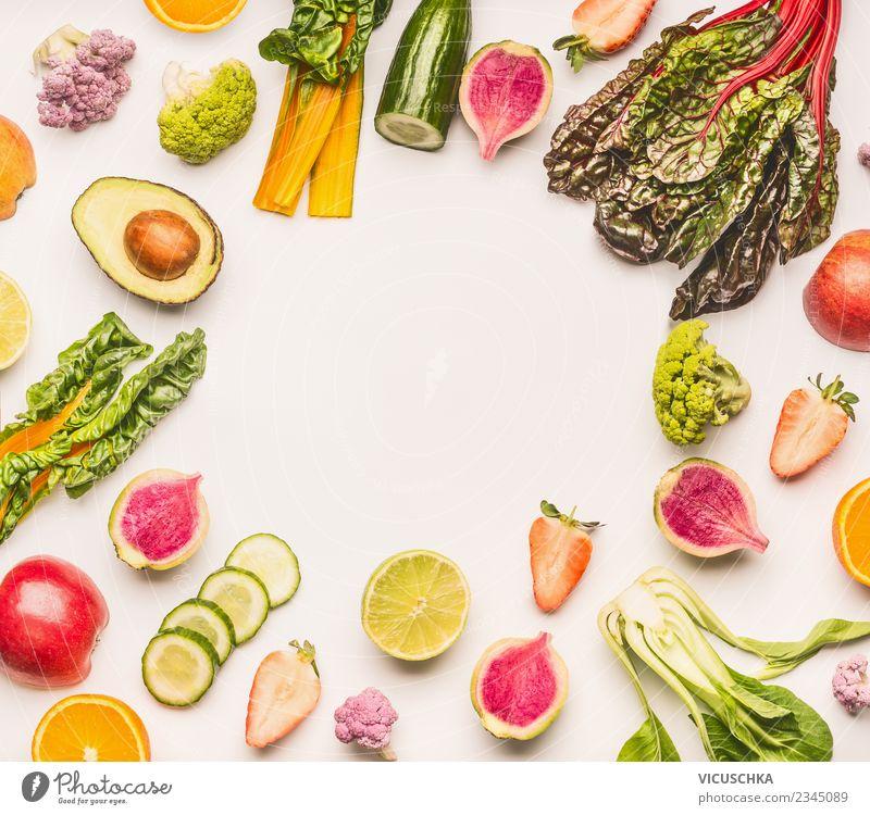 Frische Sommer Obst und Gemüse Rahmen Gesunde Ernährung Foodfotografie Essen Gesundheit Hintergrundbild Stil Lebensmittel Design Frucht Orange kaufen Sammlung