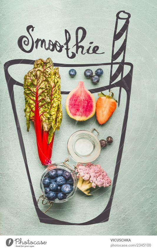 Smoothie oder Detox Getränk Zutaten Lebensmittel Gemüse Frucht Ernährung Bioprodukte Vegetarische Ernährung Diät Erfrischungsgetränk Saft Stil Design Gesundheit
