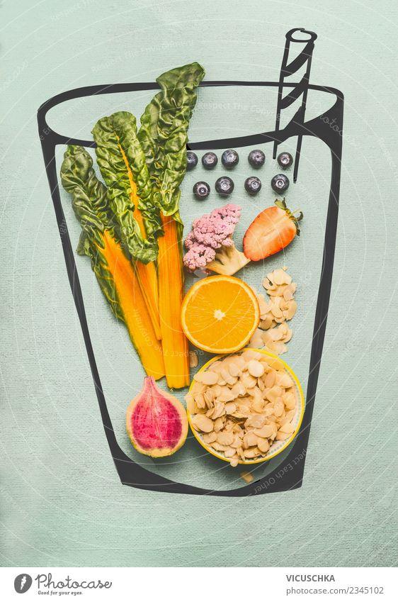 Gesundes Smoothie Getränk Zutaten Lebensmittel Gemüse Frucht Erfrischungsgetränk Saft Stil Design Gesunde Ernährung Häusliches Leben gelb rosa Brokkoli Vitamin
