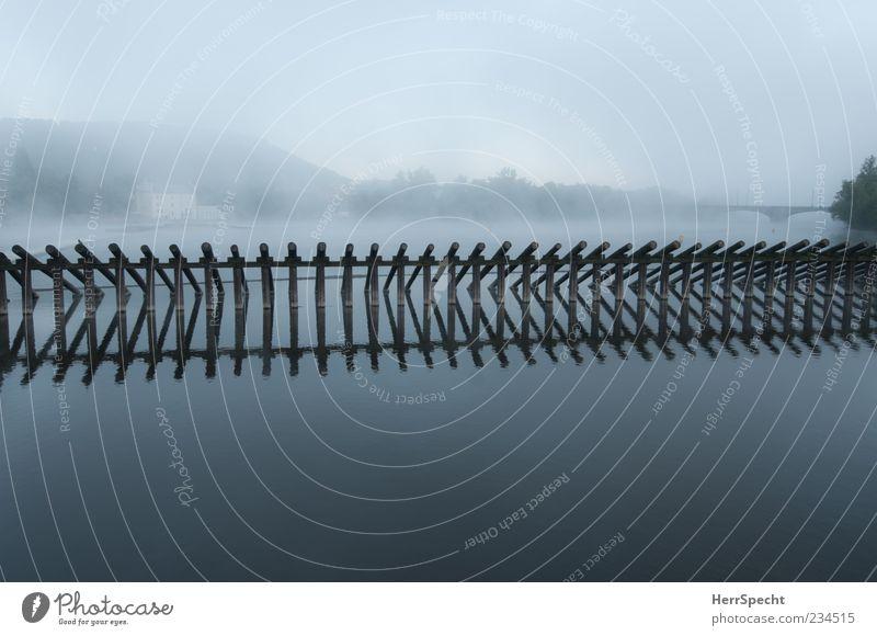 Moldau-Morgennebel Wasser Nebel Fluss Menschenleer Brücke Flußwehr ästhetisch schön grau ruhig kalt Stimmung Ferne Barriere Farbfoto Außenaufnahme