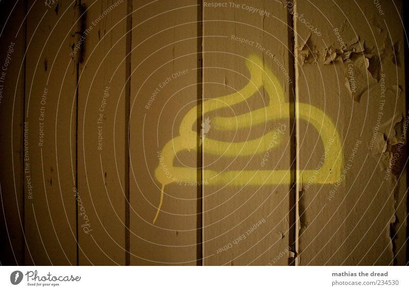 HÄUFCHEN alt gelb dunkel Graffiti Holz Farbstoff braun Tür außergewöhnlich Symbole & Metaphern Bild Bauwerk Zeichen Kot Haufen abblättern