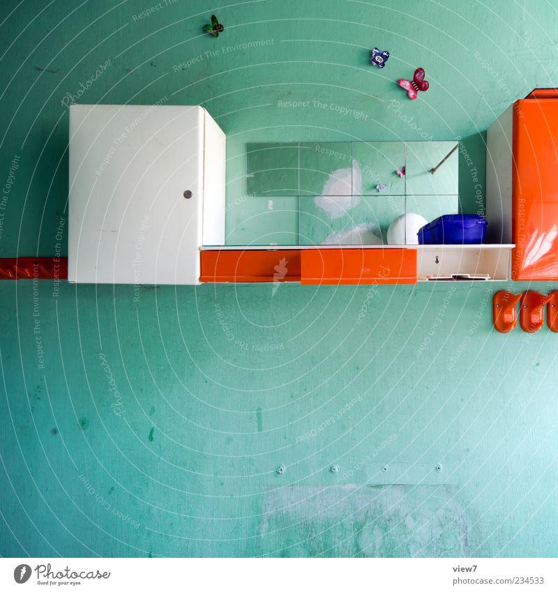 Kleinod einrichten Innenarchitektur Dekoration & Verzierung Tapete Raum Bad Stein Beton Linie Streifen alt authentisch dreckig einfach frisch einzigartig