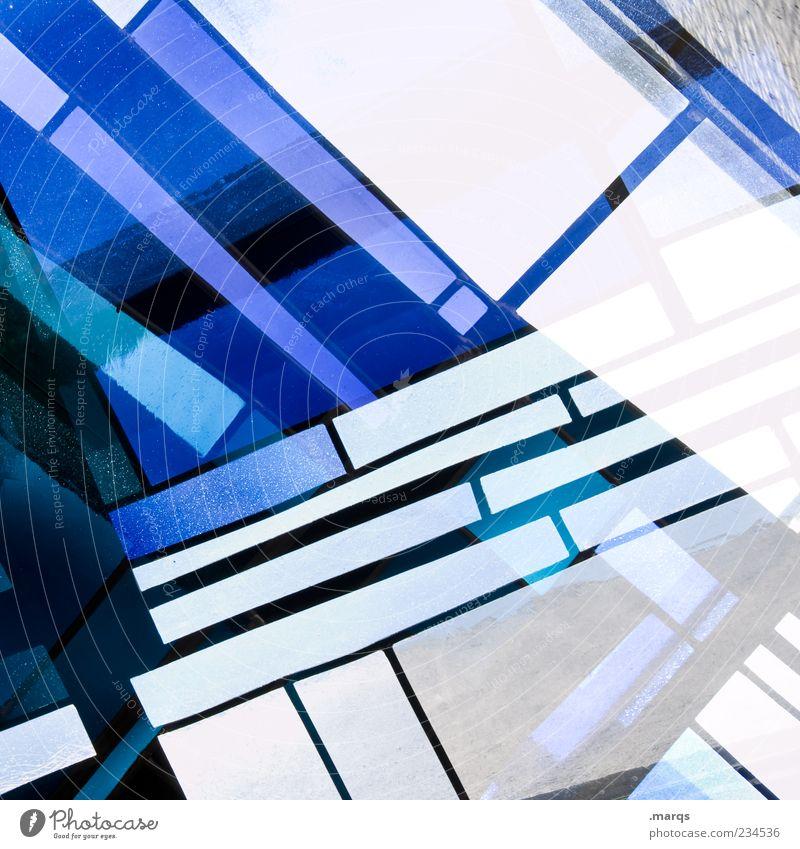 Laggard Stil Design Kunst Glas Linie außergewöhnlich Coolness trendy einzigartig blau weiß chaotisch Farbe skurril Surrealismus Dekoration & Verzierung Mosaik