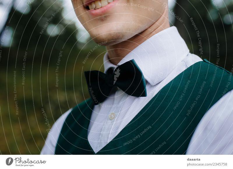 verstecktes Lächeln Lifestyle elegant Stil Freude Leben harmonisch Freizeit & Hobby Abenteuer Sommer Party Veranstaltung Feste & Feiern Hochzeit maskulin Fliege