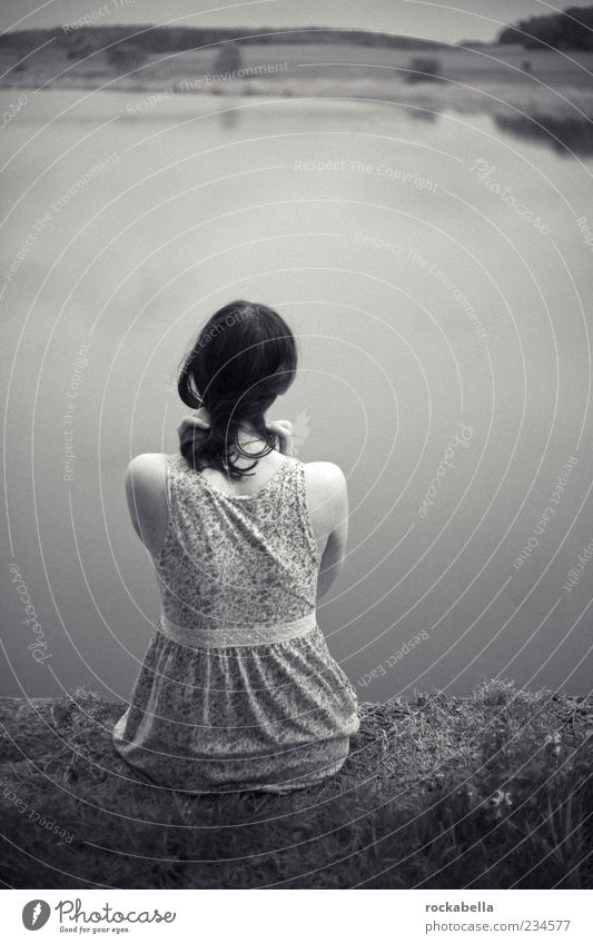 silence. Mensch Jugendliche Wasser Einsamkeit Erwachsene Ferne Erholung feminin Haare & Frisuren See Traurigkeit Denken träumen Zufriedenheit Rücken sitzen