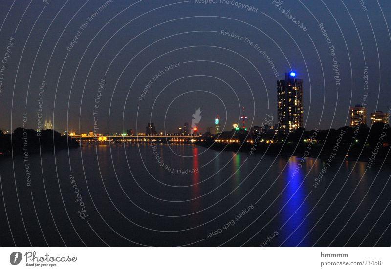 Köln bei Nacht ;D Panorama (Aussicht) Europa Mülheimer Brücke Rhein Wasser Licht groß