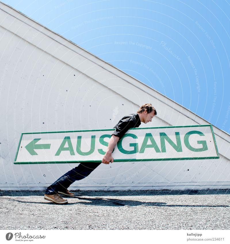 ausstand Mensch maskulin Mann Erwachsene Leben 1 30-45 Jahre Zeichen Schilder & Markierungen Verkehrszeichen Pfeil stehen stoppen fallen umfallen Gleichgewicht