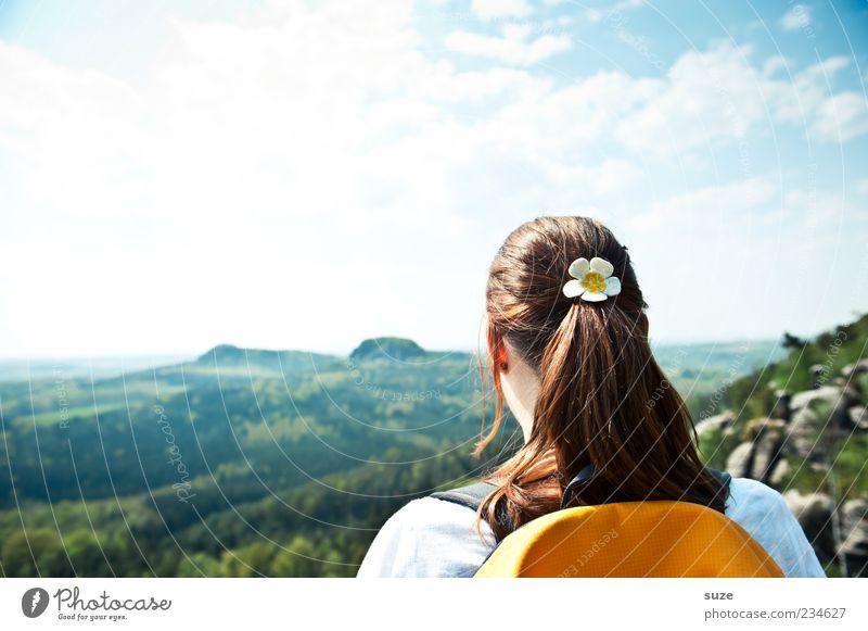 Draußen zu Hause Mensch Himmel Natur Jugendliche Ferien & Urlaub & Reisen Sonne Wolken Erwachsene Wald Ferne Umwelt Landschaft feminin Berge u. Gebirge Freiheit Haare & Frisuren