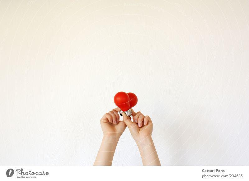 Ideen. Glühbirne Glas festhalten rot Strukturen & Formen Herz Hand hell zeigen Gefühle veranschaulichen Freisteller Vor hellem Hintergrund Liebesbekundung