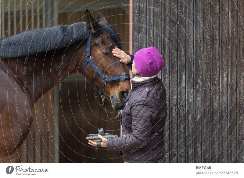 Zuneigung Lifestyle Freude Glück Freizeit & Hobby Reiten Reitsport Mensch feminin Frau Erwachsene 1 30-45 Jahre Jacke Mütze Tier Haustier Nutztier Pferd