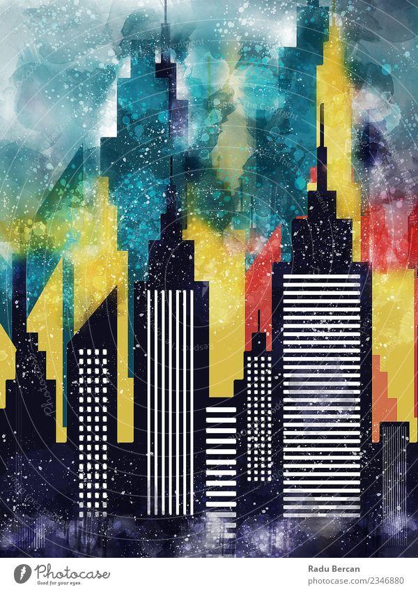 Ferien & Urlaub & Reisen blau Stadt schön Farbe Landschaft weiß rot Haus schwarz Architektur gelb Umwelt Gebäude Business Kunst