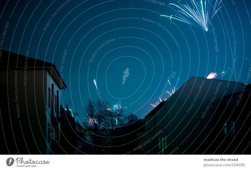 PENG PENG PENG Himmel Stadt blau schön Baum Haus Freude dunkel Fenster Wand Mauer Glück Feste & Feiern außergewöhnlich Fassade Horizont