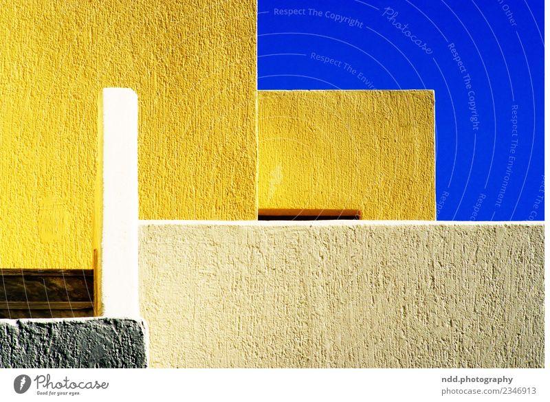 Greek Impression Kunst Architektur Dorf Fischerdorf Menschenleer Haus Mauer Wand Fassade Stein Beton ästhetisch blau gelb weiß ruhig Zufriedenheit Design