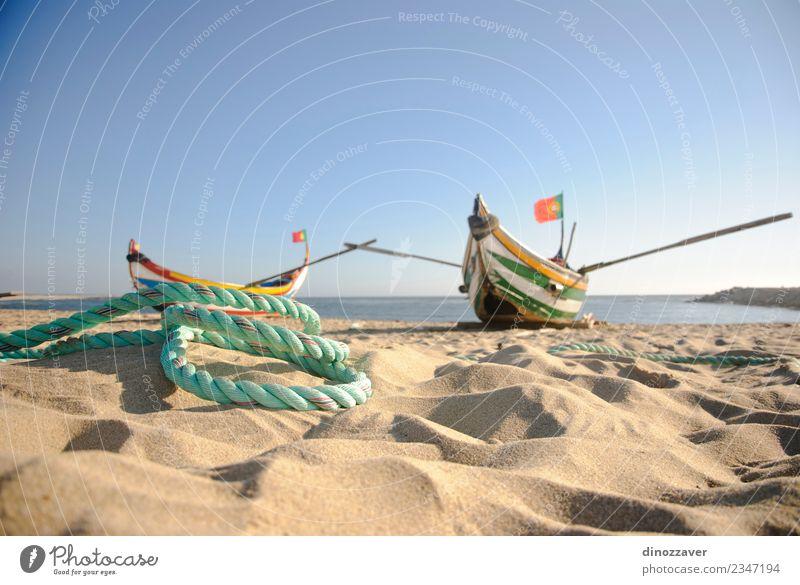 Typischer altportugiesischer Fischfang schön Ferien & Urlaub & Reisen Tourismus Sommer Strand Meer Seil Natur Sand Himmel Küste Verkehr Wasserfahrzeug Holz