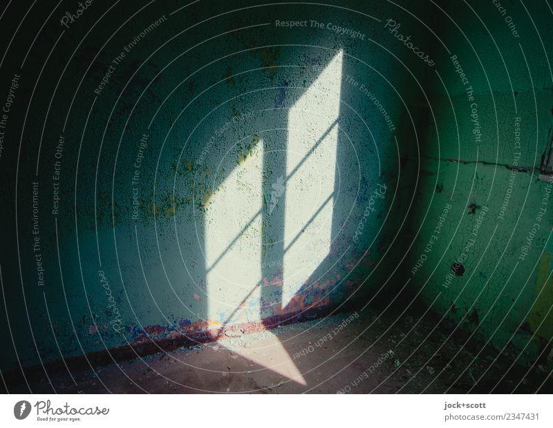 Verloren in Raum und Zeit Ruine Wand alt dreckig dunkel einfach türkis Endzeitstimmung lost places verwittert Fensterkreuz Zahn der Zeit Heilstätte abstrakt