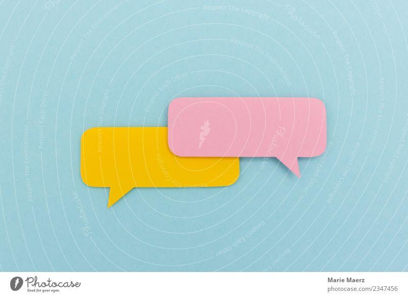 Leerer Dialog | Zwei Sprechblasen aus Papier ohne Inhalt Kommunizieren sprechen ästhetisch Freundlichkeit frisch trendy mehrfarbig Neugier Interesse Beratung
