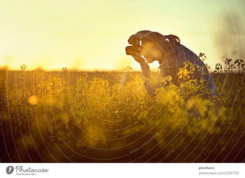 mein gelber engel Mensch Frau Natur Jugendliche schön Sommer Freude Erwachsene gelb feminin blond Feld Freizeit & Hobby 18-30 Jahre beobachten Schönes Wetter