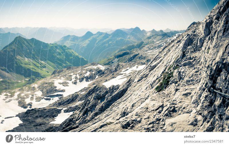 Bergwanderweg Ferien & Urlaub & Reisen Einsamkeit Ferne Wege & Pfade Felsen wandern Lebensfreude Gipfel Alpen Steilwand