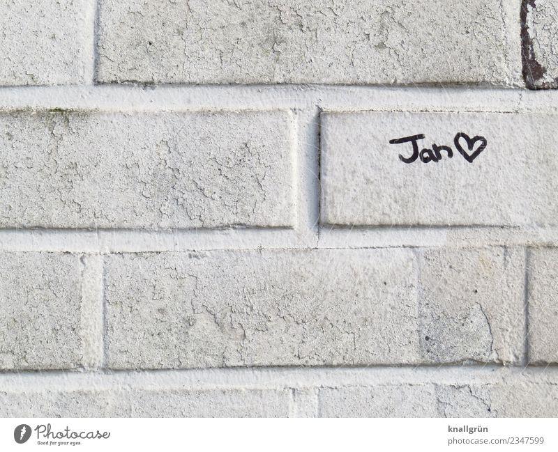 Jan Mauer Wand Schriftzeichen Graffiti Herz Kommunizieren Stadt schwarz weiß Gefühle Liebe Verliebtheit Romantik Interesse Partnerschaft Freundschaft Backstein