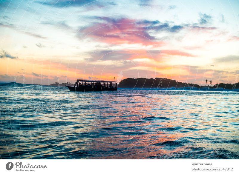 Himmel blau schön Wasser weiß Meer schwarz gelb orange rosa Horizont träumen frei Wetter Erde Fröhlichkeit