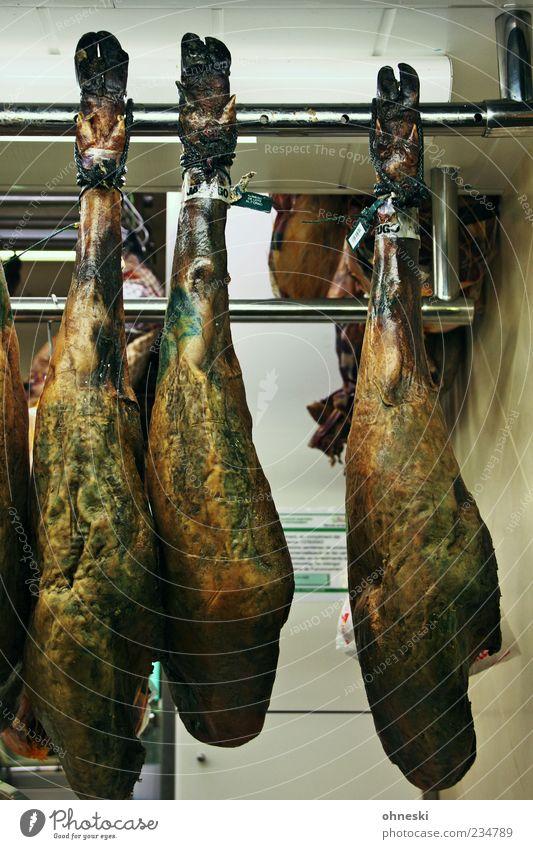 Mahlzeit Beine Lebensmittel Tierfuß Ernährung lecker Reichtum hängen Handel Fleisch verkaufen Schwein typisch anbieten Schinken Keule