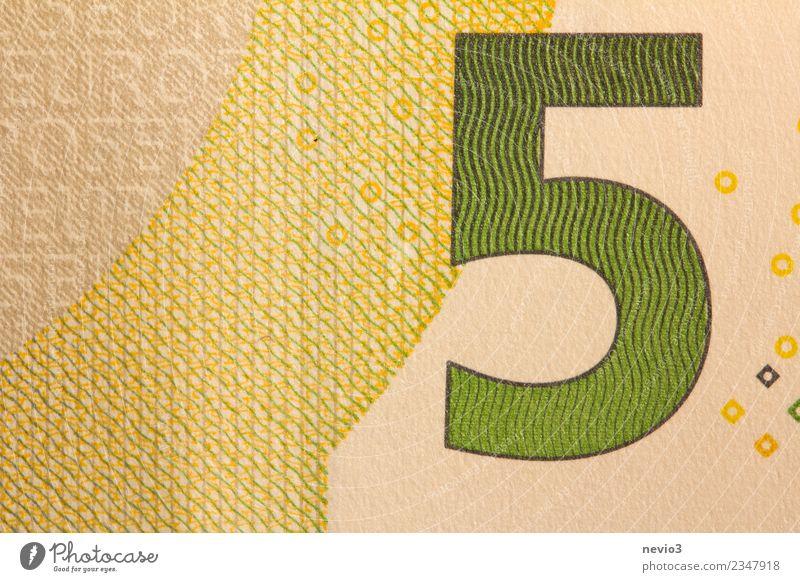 Fünf Euro Schein 5€ in Nahaufnahme Zeichen Geld Eurozeichen bezahlen gelb gold grün 5 Euro 5 Euroschein Europa Geldscheine 5 € Papier Zahlungsmittel Business