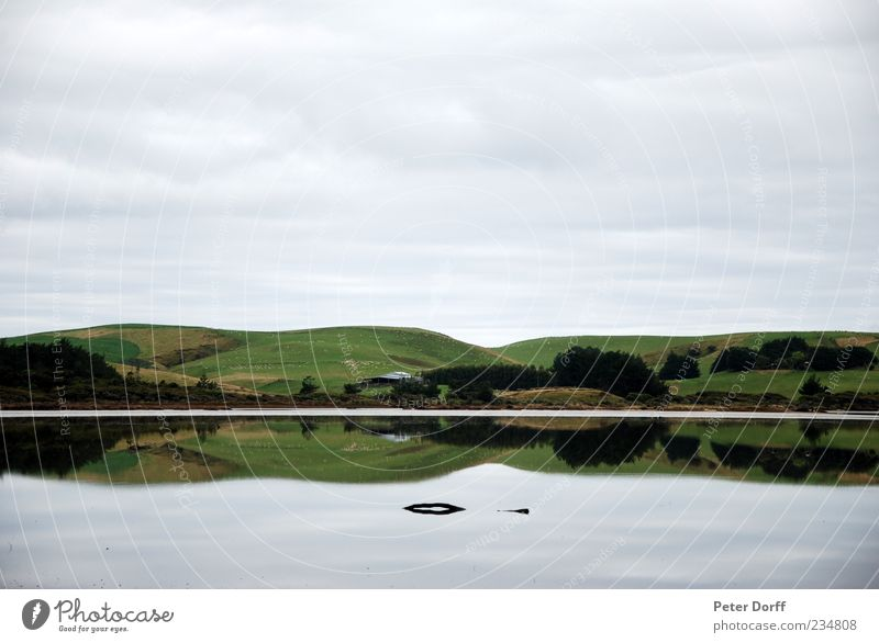 Mirrow Lake Natur Landschaft Wasser Wolken Hügel Küste Flüssigkeit glänzend lang blau grün weiß Zufriedenheit Einsamkeit gleich Ordnung Symmetrie Ferne