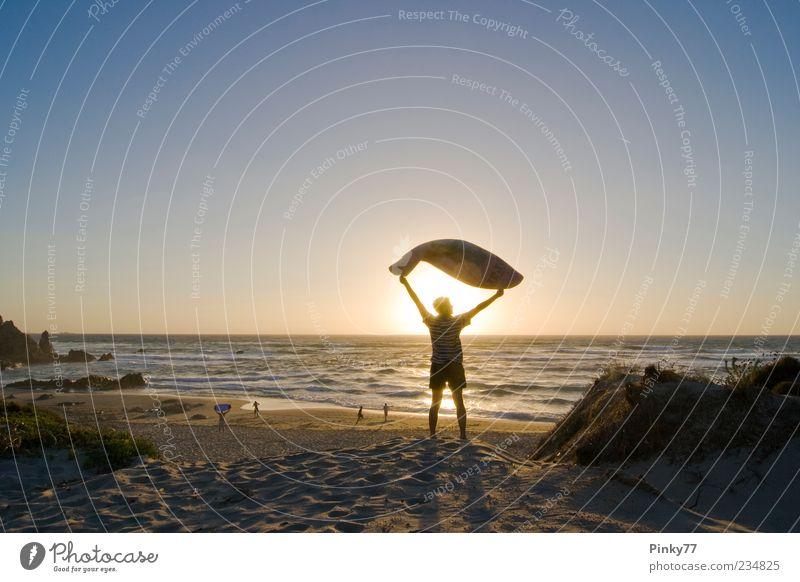 Mensch Himmel Mann Natur Sonne Ferien & Urlaub & Reisen Meer Sommer Strand Freude Erwachsene Erholung Freiheit Sand Küste frei